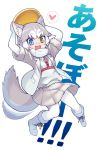 +_+ 1girl :d afterimage animal_ears arms_up blue_eyes boots commentary dog_(mixed_breed)_(kemono_friends) dog_ears dog_tail elbow_gloves eyebrows_visible_through_hair fang frisbee full_body fur-trimmed_boots fur-trimmed_sleeves fur_trim gloves grey_hair grey_jacket grey_skirt heart heterochromia jacket kemono_friends open_clothes open_jacket open_mouth pantyhose pleated_skirt short_sleeves simple_background skin_fang skirt smile solo spoken_heart tail tail_wagging translated v-shaped_eyebrows white_background white_footwear white_gloves yamai yellow_eyes