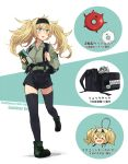 >_< 1girl alternate_costume annin_musou backpack bag black_bag black_hairband black_legwear black_shorts blonde_hair blue_eyes blush boots character_name commentary_request enemy_lifebuoy_(kantai_collection) escort_water_hime full_body gambier_bay_(kantai_collection) green_footwear green_shirt hair_between_eyes hairband highres holding_strap kantai_collection keychain long_hair long_sleeves looking_to_the_side map_(object) open_mouth running shinkaisei-kan shirt shorts solo suspenders thigh-highs translated twintails two-tone_background white_background