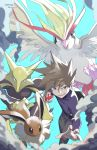 1boy alakazam artist_name bag bangs black_eyes black_pants blue_background brown_eyes brown_hair claws commentary dated eevee ege_(597100016) gen_1_pokemon hand_up happy holding holding_poke_ball jewelry long_sleeves looking_at_viewer male_focus necklace ookido_green open_mouth pants pidgeot poke_ball poke_ball_(generic) pokemon pokemon_(creature) pokemon_(game) pokemon_lgpe purple_shirt shirt short_hair signature simple_background smile smoke spoon teeth