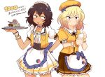 2girls alternate_costume andou_(girls_und_panzer) apron artist_name bangs bc_freedom_(emblem) beret black_hair black_neckwear blonde_hair blue_bow blue_eyes blush_stickers bow brown_eyes brown_skirt choker closed_mouth coco's collared_shirt commentary_request dark_skin dessert double_horizontal_stripe emblem eyebrows_visible_through_hair followers food frilled_apron frilled_choker frilled_skirt frilled_sleeves frilled_wrist_cuffs frills frown girls_und_panzer hand_on_hip hat highres holding holding_tray jacket kaisen_(kaisen3team) large_bow looking_at_another looking_back maid_headdress medium_hair messy_hair multiple_girls neck_ribbon notepad open_mouth oshida_(girls_und_panzer) print_skirt puffy_short_sleeves puffy_sleeves ribbon shirt short_sleeves simple_background skirt sleeveless_jacket standing translated tray twitter_username waist_apron waitress white_apron white_background white_choker white_shirt white_skirt wrist_cuffs yellow_headwear yellow_jacket