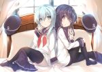 2girls akatsuki_(kantai_collection) back-to-back bed black_hair black_legwear blue_eyes blue_hair blue_skirt commentary_request curtains feet from_side hand_on_own_knee hand_to_own_mouth hat headwear_removed hibiki_(kantai_collection) highres holding holding_hair kantai_collection knee_up legs long_hair looking_at_viewer mayuzaki_yuu multiple_girls no_shoes pantyhose pillow school_uniform see-through serafuku shirt sitting skirt skirt_around_one_leg soles thigh-highs toes violet_eyes white_shirt window