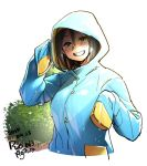 1girl agawa_ryou blue_coat blush brown_eyes brown_hair bush commentary cowboy_shot dated english_commentary grin hood hood_up hooded_coat looking_at_viewer nose_blush original raincoat short_hair sleeves_past_wrists smile solo wet wet_clothes