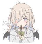 1girl bangs black_wings blue_hair blush_stickers cup demon_wings disposable_cup drink drinking_straw eyebrows_visible_through_hair grey_hoodie hair_ornament hair_over_one_eye hairclip holding holding_cup hood hood_down hoodie light_brown_hair long_hair mafuyu_(chibi21) multicolored_hair original signature simple_background sleeves_past_wrists solo streaked_hair translation_request upper_body violet_eyes white_background wings