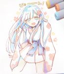 1girl :d bangs blue_bow blue_eyes blue_flower blue_hair blue_kimono blunt_bangs blush bow commentary fingernails flower hair_flower hair_ornament hands_up head_tilt highres japanese_clothes kimono long_hair long_sleeves open_mouth original personification photo pinching_sleeves pleated_skirt plum_blossoms red_flower reiwa signature skirt sleeves_past_wrists smile sofra solo traditional_media translated very_long_hair white_skirt wide_sleeves