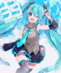 1girl 39 2019 ;d black_legwear black_skirt black_sleeves blue_eyes blue_hair blue_nails blue_neckwear blue_sky character_name clouds collared_shirt dated detached_sleeves dress_shirt floating_hair grey_shirt hair_ornament hatsune_miku highres long_hair long_sleeves looking_at_viewer miniskirt nail_polish necktie omui one_eye_closed open_mouth pleated_skirt shiny shiny_hair shirt skirt sky sleeveless sleeveless_shirt smile solo thigh-highs twintails v very_long_hair vocaloid wing_collar zettai_ryouiki