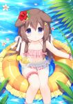 1girl animal_ears azur_lane blue_eyes blush brown_hair collarbone commentary crescent crescent_hair_ornament cup dog_ears flat_chest flower food fruit fumizuki_(azur_lane) hair_flower hair_ornament ikataruto innertube leaf lemon lemon_slice long_hair looking_at_viewer navel parted_lips petals plant solo swimsuit water