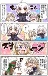 !? /\/\/\ 0_0 3girls 4koma :o :t absurdres ahoge armor armored_dress arrow arrow_through_heart barefoot bell black_dress blonde_hair blue_dress blush bow brown_eyes chibi closed_mouth comic commentary_request dress fate/grand_order fate_(series) flying_sweatdrops fur-trimmed_jacket fur-trimmed_sleeves fur_trim green_bow green_ribbon hair_bow headpiece heart heart-shaped_pupils highres jacket jako_(jakoo21) jeanne_d'arc_(alter)_(fate) jeanne_d'arc_(fate) jeanne_d'arc_(fate)_(all) jeanne_d'arc_alter_santa_lily long_sleeves multiple_girls nose_blush open_clothes open_jacket open_mouth outstretched_arm pointing pout profile purple_jacket ribbon shaded_face striped striped_bow striped_ribbon sweat symbol-shaped_pupils tears translation_request turn_pale upper_teeth v-shaped_eyebrows wavy_mouth white_hair wicked_dragon_witch_ver._shinjuku_1999