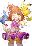 1girl :d absurdres alternate_costume alternate_hairstyle blush bow brown_eyes brown_hair commentary_request detached_sleeves dot_nose dress frills gen_1_pokemon gen_3_pokemon hair_between_eyes hair_bow haruka_(pokemon) highres holding holding_poke_ball looking_at_viewer mudkip navel o0baijin0o one_eye_closed open_mouth pikachu pink_bow poke_ball poke_ball_(generic) pokemon pokemon_(game) pokemon_oras scrunchie short_hair shorts skirt smile wrist_scrunchie yellow_scrunchie yellow_shorts