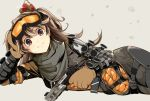 1girl apex_legends bangs black_scarf bodysuit brown_gloves brown_hair closed_mouth commentary cosplay cowboy_shot crown fang gloves goggles gun handgun holding holding_gun holding_weapon kichihachi long_hair looking_at_viewer lying mirage_(apex_legends) mirage_(apex_legends)_(cosplay) on_side pistol re:act scarf shishigami_leona simple_background skin_fang solo two_side_up violet_eyes virtual_youtuber weapon