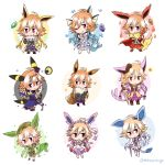 1girl absurdres animal_ears bangs bare_shoulders black_hair blonde_hair blue_dress blue_hair braid brown_hair bubble cape chibi commentary_request crossover dark_illuminate dress eevee english_commentary espeon evolutionary_stone eyebrows_visible_through_hair feathers fins fire flareon fluffy frilled_dress frilled_skirt frilled_sleeves frills fur-trimmed_sleeves fur_trim glaceon green_hair hair_extensions hat heart highres idolmaster idolmaster_cinderella_girls idolmaster_cinderella_girls_starlight_stage jolteon lavender_hair leafeon lightning long_hair mahoxyshoujo microphone multicolored_hair necktie ninomiya_asuka orange_hair pink_eyes pink_hair pokemon purple_dress purple_hair redhead ribbon safari_jacket side_braid silver_hair skirt sleeveless sleeveless_dress snow snowflakes solo star sylveon tail tiara torn_clothes two-tone_hair umbreon vaporeon water weapon white_dress white_hair white_skirt
