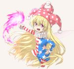 1girl :d american_flag_dress american_flag_legwear bangs blonde_hair brown_background clownpiece commentary_request dress eyebrows_visible_through_hair fairy_wings fingernails fur-trimmed_sleeves fur_trim hair_between_eyes hand_on_hip hat highres holding holding_torch jester_cap long_hair long_sleeves mismatched_legwear neck_ruff nibi open_mouth outstretched_arm pantyhose print_legwear red_eyes simple_background smile solo star star_print striped striped_dress striped_legwear torch touhou transparent_wings very_long_hair wings