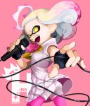 +_+ 1girl :d artist_name black_gloves blonde_hair character_name domino_mask dress fingerless_gloves floating_hair gloves gradient_hair highres hime_(splatoon) holding holding_microphone mask medium_hair microphone mole mole_under_mouth multicolored_hair nintendo nintendo_ead open_mouth otoboke-san pantyhose pink_background pink_hair pink_legwear platinum_blonde_hair pointy_ears shorts shorts_under_dress singing sleeveless sleeveless_dress smile solo splatoon splatoon_(series) splatoon_2 suction_cups symbol-shaped_pupils teeth tentacle_hair two-tone_hair white_dress white_shorts yellow_eyes