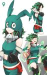 1girl artist_name ass bare_shoulders black_legwear blood bloody_clothes bodysuit boku_no_hero_academia breasts commentary drawrepulser energy english_commentary face_mask freckles from_side genderswap genderswap_(mtf) gloves green_bodysuit green_eyes green_hair green_hood highres hood large_breasts looking_at_viewer mask midoriya_izuku multiple_views short_hair shorts simple_background twitter_username two-tone_background v-shaped_eyebrows white_gloves