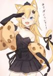 1girl absurdres animal_ears animal_print bare_shoulders black_dress black_ribbon blonde_hair blue_eyes blush cat_ears cat_tail collar commentary_request cowboy_shot dress earrings elbow_gloves fang girls_frontline gloves gradient gradient_background hair_ornament highres idw_(girls_frontline) jewelry leopard_print medium_hair one_eye_closed open_mouth ribbon salute smile solo sunglasses tail translated yellowpaint.
