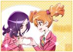 2girls :d blazer border brown_hair commentary eye_contact eyebrows_visible_through_hair fresh_precure! hair_between_eyes hair_ornament heart heart_hands heart_hands_duo higashi_setsuna jacket kamikita_futago lens_flare long_hair long_sleeves looking_at_another momozono_love multiple_girls necktie open_mouth pink_eyes polka_dot polka_dot_background precure public_yotsuba_middle_school_uniform purple_hair red_eyes school_uniform signature smile translated twintails upper_body white_border