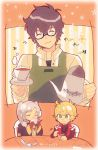 1girl 2boys amamiya_ren apron atlus black_hair blonde_hair blue_eyes cape chibi closed_eyes coffee coffee_mug cup female_my_unit_(fire_emblem:_kakusei) fire_emblem fire_emblem:_kakusei glasses highres intelligent_systems kiriya_(552260) kurusu_akira long_hair mamkute megami_tensei monolith_soft mug multiple_boys my_unit_(fire_emblem:_kakusei) nintendo open_mouth persona persona_5 reflet robe short_hair shulk smile super_smash_bros. super_smash_bros._ultimate twintails white_hair xenoblade_(series) xenoblade_1