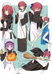 android apron aqua_background bamboo_broom blue_eyes blue_ribbon border broom china_dress chinese_clothes covering_mouth dress fire hair_between_eyes high_heels highres hisui japanese_clothes kimono kohaku looking_at_viewer maid maid_apron maid_headdress mecha_hisui melty_blood mr_chin multiple_girls outside_border pink_hair purple_hair redhead ribbon signature tabi thighs tsukihime wa_maid werkbau white_border wide_sleeves yellow_eyes