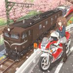 1girl ahoge black_footwear black_gloves black_legwear blazer blue_eyes blue_jacket brown_hair cherry_blossoms commentary_request day double_horizontal_stripe dress_shirt eyebrows_visible_through_hair gloves grass grey_skirt ground_vehicle guard_rail headwear_removed helmet helmet_removed highres honda honda_250r ichigotofu jacket lace lace-trimmed_skirt loafers locomotive miniskirt motor_vehicle motorcycle motorcycle_helmet neck_ribbon original outdoors pantyhose parted_lips pleated_skirt power_lines print_skirt railroad_tracks red_neckwear ribbon riding road school_uniform shirt shoes skirt smile solo standing tree white_headwear white_shirt wing_collar