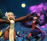 2girls :d animal_ears black_feathers black_hair blonde_hair brown_feathers cherry_blossoms commentary_request dark_skin digitigrade fang fantasy feathered_wings flower full_moon hair_flower hair_ornament harpy highres kamukamu6392 looking_at_viewer monster_girl moon multiple_girls night night_sky open_mouth orange_eyes original pointy_ears red_eyes short_hair sky smile tabard talons tree wings