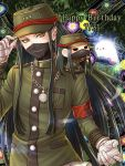 1boy androgynous armband bandage bandaged_hands bandages character_doll danganronpa doll_on_shoulder ghost green_background green_eyes green_hair green_jacket happy_birthday jacket jewelry long_sleeves looking_at_viewer mask military_jacket necklace new_danganronpa_v3 shinguuji_korekiyo solo upper_body yumaru_(marumarumaru) zipper