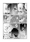 2girls bandages blush closed_eyes greyscale highres kiss konno_junko licking long_hair looking_at_another mizuno_ai monochrome multiple_girls ooshima_tomo open_mouth patchwork_skin sample shirt short_hair stitches striped striped_shirt tears tongue tongue_out translation_request yuri zombie_land_saga