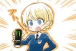 1girl @_@ bangs black_neckwear blonde_hair blue_eyes blue_sweater blush braid can collared_shirt commentary darjeeling dress_shirt emblem emphasis_lines energy_drink girls_und_panzer hand_on_hip holding holding_can inumoto long_sleeves looking_at_viewer monster_energy necktie open_mouth orange_outline ringed_eyes saliva school_uniform shirt short_hair smile soda_can solo st._gloriana's_school_uniform standing sweater swept_bangs tied_hair translated upper_body v-neck v-shaped_eyebrows white_shirt wing_collar