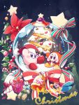 amedama_(akaki_4207) bell bow box candy candy_cane christmas christmas_tree english_text flower food hat highres kirby kirby's_dream_land kirby_(series) leaf merry_christmas no_humans red_flower ribbon santa_hat snow_globe star striped striped_bow striped_ribbon waddle_dee