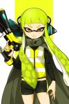 1girl bangs bike_shorts black_cape black_shirt black_shorts blunt_bangs brown_eyes cape closed_mouth commentary_request domino_mask green_hair headgear hero_shot_(splatoon) holding holding_weapon inkling jacket long_hair long_sleeves looking_at_viewer mask midriff pillarboxed shirt short_shorts shorts single_vertical_stripe smile solo splatoon_(series) splatoon_1 squidbeak_splatoon standing tentacle_hair weapon yellow_background yellow_jacket yeneny