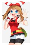 1girl :d bike_shorts black_shorts blue_eyes blush bow bracelet breasts brown_hair cowboy_shot hair_bow hairband haruka_(pokemon) highres holding holding_poke_ball jewelry long_hair looking_at_viewer medium_breasts open_mouth poke_ball pokemon pokemon_(game) pokemon_oras red_hairband red_shirt shirt short_shorts shorts shorts_under_shorts sleeveless sleeveless_shirt smile solo standing striped striped_bow white_background white_shorts yuihiko