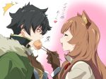 /\/\/\ 1boy 1girl ^_^ animal_ears black_eyes black_hair brown_gloves brown_hair chopsticks closed_eyes commentary_request eyebrows_visible_through_hair food fur_trim gloves iwatani_naofumi long_hair open_mouth profile raccoon_ears raccoon_girl raphtalia short_hair tate_no_yuusha_no_nariagari translated umanosuke