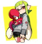 1girl animal bangs black_shorts blush cropped_legs dated domino_mask green_hair grey_sweater gym_shorts head_tilt holding holding_animal inkling light_frown logo long_hair long_sleeves looking_at_viewer mask octoling octopus outside_border pointy_ears red_eyes shorts splatoon_(series) splatoon_2 standing sweater tentacle_hair yellow_background yeneny
