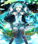 119 1girl :d aqua_neckwear black_legwear black_skirt black_sleeves blue_eyes blue_hair detached_sleeves dress_shirt grey_shirt hair_between_eyes hatsune_miku headphones headset highres long_hair long_sleeves looking_at_viewer microphone miniskirt necktie open_mouth outstretched_hand pleated_skirt shiny shiny_clothes shiny_hair shirt skirt sleeveless sleeveless_shirt smile solo sparkle thigh-highs very_long_hair vocaloid zettai_ryouiki