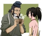 2boys beard black_hair blowing_on_food bowl brown_eyes dororo_(tezuka) facial_hair food hyakkimaru_(dororo) japanese_clothes jukai_(dororo) ku2 looking_at_another male_focus multiple_boys open_mouth ponytail prosthesis prosthetic_arm shirtless simple_background smile soup standing steam tasuki