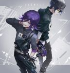 2boys accessories black_hair callarinc checkered checkered_scarf commentary_request danganronpa english_text eyelashes hat looking_at_viewer male_focus multiple_boys new_danganronpa_v3 ouma_kokichi purple_hair saihara_shuuichi scarf short_hair simple_background skateboard violet_eyes yellow_eyes