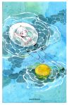 1girl artist_name barefoot closed_eyes crater floating innertube maruti_bitamin original partially_submerged ripples short_hair shorts solo traditional_media watercolor_(medium) white_hair
