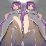 2girls :d absurdres ass_visible_through_thighs blush breasts choker commentary_request coyomin euryale fate/grand_order fate_(series) feet from_below groin_tendon hands_on_hips highres lace lace_choker licking_lips long_hair multiple_girls open_mouth panties purple_hair small_breasts smile standing standing_on_one_leg stheno thighs tongue tongue_out trefoil twintails underwear upskirt very_long_hair violet_eyes white_panties
