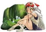 1girl brown_eyes brown_hair expressionless eyebrows facepaint facial_mark forest fur jewelry knife kodama looking_at_viewer mask mononoke_hime moss nature necklace nishida_kiri san short_hair sitting skirt spirit studio_ghibli