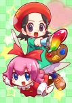 adeleine black_hair blue_eyes blue_legwear brown_footwear collar commentary_request dress fairy fairy_wings green_background heart highres kirby:_star_allies kirby_(series) kirby_64 looking_at_viewer open_mouth paint pink_hair red_dress red_ribbon ribbon ribbon_(kirby) smile smock star tendoast violet_eyes white_collar wings