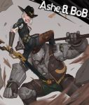 1boy 1girl ashe_(overwatch) asymmetrical_hair belt_buckle bob_(overwatch) bowler_hat bracer broken_thumbnail buckle character_name cowboy_hat earrings extra_eyes eyeshadow facial_hair finger_on_trigger green_eyes gun hat hat_over_one_eye height_difference highres holding holding_gun holding_weapon improvised_weapon jewelry lever_action lipstick makeup missing_thumbnail mole_above_mouth mustache no_pupils omnic overwatch popped_collar red_eyes red_lipstick rifle road_sign robot sign sitting_on_shoulder sleeves_pushed_up stud_earrings tamidro vest weapon white_hair