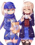 2girls absurdres ahoge aqua_eyes artoria_pendragon_(all) bag baozi black-framed_eyewear black_legwear blonde_hair blue_legwear blue_scarf blue_serafuku braid buruma closed_mouth clothes_writing cowboy_shot eating fate/grand_order fate_(series) food food_on_face french_braid garter_straps glasses hat highres holding holding_food jacket long_sleeves miniskirt multiple_girls mysterious_heroine_x mysterious_heroine_x_(alter) open_clothes open_mouth paper_bag plaid plaid_scarf pleated_skirt pointing ponytail red_scarf scarf school_uniform serafuku shaffelli simple_background skirt thigh-highs white_background yellow_eyes