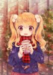 1girl absurdres blonde_hair blue_coat brown_eyes christmas cup fang hair_bobbles hair_ornament highres holding holding_cup long_sleeves looking_at_viewer original ornament outdoors pink_skirt plaid plaid_scarf pocket raki1102mi red_scarf scarf sidelocks skirt solo twintails twitter_username unmoving_pattern upper_body