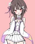 1girl blush brown_hair cosplay emilia_(re:zero) emilia_(re:zero)_(cosplay) eyebrows_visible_through_hair flower frilled_sleeves frills hair_flower hair_ornament hair_ribbon hands_on_own_chest highres kamu_(geeenius) kono_subarashii_sekai_ni_shukufuku_wo! long_hair long_sleeves looking_at_viewer megumin miniskirt open_mouth pink_background pleated_skirt purple_ribbon re:zero_kara_hajimeru_isekai_seikatsu red_eyes ribbon shoulder_cutout skirt solo thigh-highs white_skirt wide_sleeves zettai_ryouiki