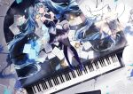 1girl amatsukiryoyu aqua_eyes aqua_hair bare_shoulders black_legwear blue_eyes blue_hair blue_neckwear boots detached_sleeves full_body grand_piano hatsune_miku headphones headset instrument long_hair looking_at_viewer lying necktie on_back paper piano pleated_skirt sheet_music skirt smile star thigh-highs thigh_boots twintails very_long_hair vocaloid