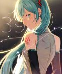 1girl 39 2019 ;) arms_at_sides backlighting bare_shoulders black_background blue_eyes blue_hair blurry blush character_name depth_of_field detached_sleeves floating_hair grey_shirt happy hatsune_miku konomi_(kumagai20) long_hair looking_back number number_tattoo one_eye_closed shirt shoulder_tattoo simple_background sleeveless sleeveless_shirt smile solo sparkle standing string tattoo twintails upper_body very_long_hair vocaloid