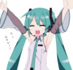 1girl aqua_hair armpits arms_up bare_shoulders closed_eyes commentary detached_sleeves excited hair_ornament hatsune_miku headset lamazep light_blush long_hair necktie see-through_sleeves smile solo translated twintails upper_body very_long_hair vocaloid white_background
