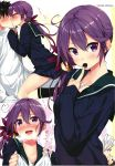 1boy 1girl :d admiral_(kantai_collection) ahoge akebono_(kantai_collection) assertive bell black_legwear blue_skirt blush breath cardigan chocolate chocolate_heart couple dress flower food_in_mouth from_side gift_bag gintarou_(kurousagi108) hair_bell hair_flower hair_ornament heart heart_ahoge heavy_breathing hetero highres jingle_bell kantai_collection kiss kneehighs long_hair looking_at_viewer multiple_views nose_blush open_mouth pleated_skirt profile purple_hair scan scan_artifacts school_uniform serafuku shared_food shitty_admiral_(phrase) side_ponytail signature sitting sitting_on_person skirt smile translated tsurime twitter_username valentine very_long_hair violet_eyes