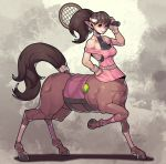 1girl absurdres ball bangs brown_hair centaur fengmo full_body halterneck hand_on_hip highres hooves horse_tail leg_up looking_at_viewer monster_girl off_shoulder original over_shoulder pink_shirt pointy_ears ponytail racket shirt smile solo sportswear tail tennis tennis_ball tennis_racket