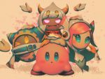 bellhenge blue_eyes blush commentary fangs floating_hand frown heart kirby kirby:_star_allies magolor nintendo one_eye_closed pastel_colors pink_eyes pink_hair sparkling_eyes susie_(kirby) taranza