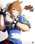 1girl blue_dress boku_no_hero_academia bracelet china_dress chinese_clothes chun-li chun-li_(cosplay) cosplay dress hair_between_eyes highres jewelry kellzallday30 kendou_itsuka orange_hair pantyhose sash signature simple_background spiked_bracelet spikes street_fighter white_background