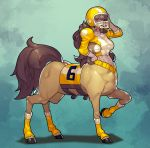 1girl absurdres ball bangs breasts brown_hair centaur fengmo football football_helmet full_body hand_on_headwear helmet highres holding holding_ball hooves horse_tail large_breasts long_hair long_sleeves looking_at_viewer midriff monster_girl original shoulder_pads socks solo sportswear tail yellow_headwear yellow_legwear
